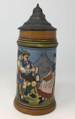 German.3L Etched Pewter Lidded Stein