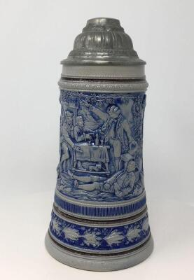 Glazed .5L Pewter Lidded German Stein