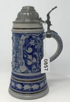 Glazed .5L Pewter Lidded German Stein - 2