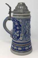Glazed .5L Pewter Lidded German Stein - 3