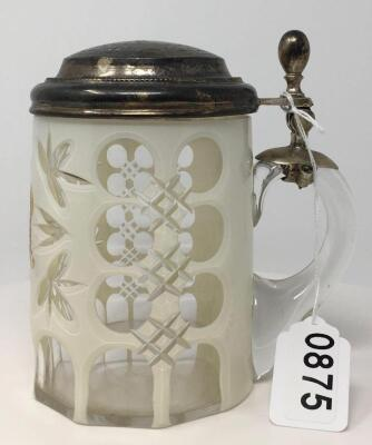 Antique Clear Glass Lidded Stein