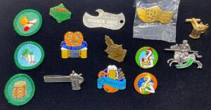 Lot of Oktoberfest Pins and Wooden Shoe Opener
