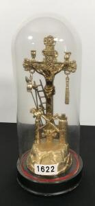 Brass Crucifix in Globe