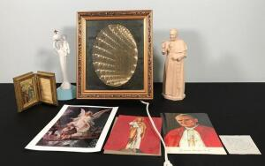 Pope Items and Crucifix Light Up Mirror