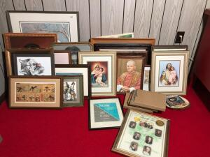 Large Assorted Lot of Pictures & Frames