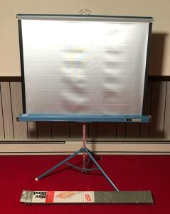 AMC Projector Screen on Stand and Mini Blinds