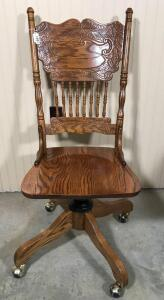 Pressed Back Wooden Rolling Office Chair