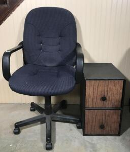 Office Chair, Cardboard File Cabinet