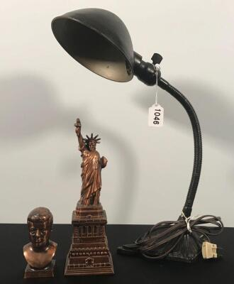 Vintage Desk Items, Lamp, Cast Bust and Statue