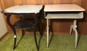 Metal School Desk & Vintage Side Table