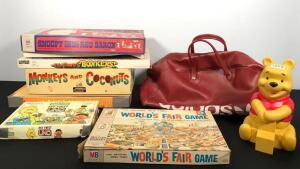 Vintage Winnie the Pooh Blocks Toy, Adidas Sport Bag & Assorted Boardgames