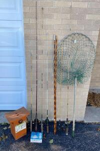 Vintage Fishing Poles, Net, & Seat Tackle Box