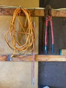 Bolt Cutters, Electrical Cord, Yardstick