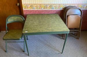 Vintage Card Table w/ 1 Original Chair and 4 Misc. Chairs