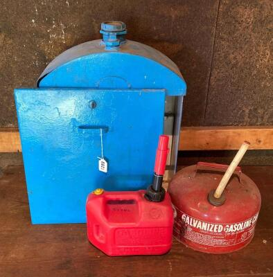 Vintage Breaker Box & 2 Gas Cans