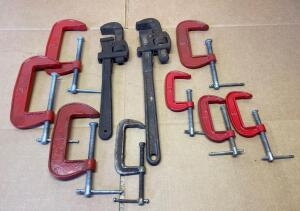 C-Clamps, Pair of Pipe Wrenches
