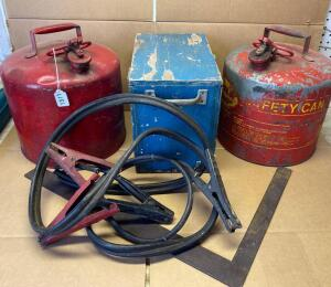 Pair of Vintage Gas Cans, Jumper Cables, Wooden Box