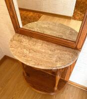Oak & Marble Entry Butler With Mirror - 2