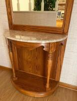 Oak & Marble Entry Butler With Mirror - 4