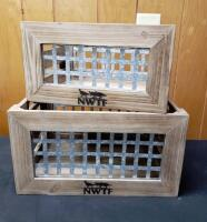 Wood and Metal Crate Set
