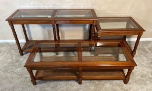3 Glass Top Matching End tables