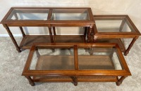 3 Glass Top Matching End tables - 5