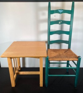Straight Back Chair & Small Table