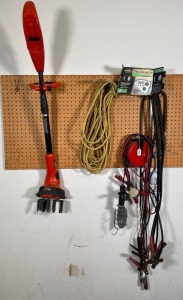 B&D Cultivator, Jumper Cables, Rope, Trouble Light, Tire Inflator