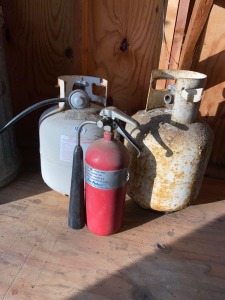 Propane Bottles and Vintage Fire Extinguisher