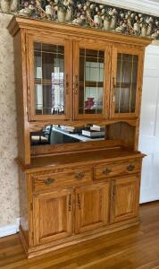 Oak Lighted China Cupboard