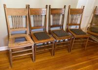 Set of 6 Antique Press Back Chairs - 2