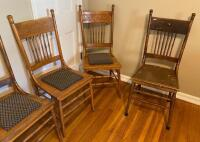 Set of 6 Antique Press Back Chairs - 3