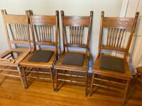 Set of 6 Antique Press Back Chairs - 6