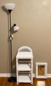 White Wicker Mirror & Stand with Floor Lamp.