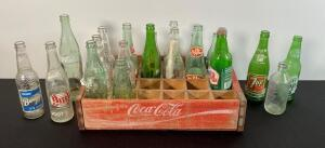Vintage Coca Cola Crate & Various Bottles