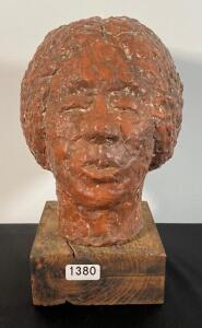 Clay Human Head Sculpture