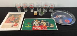 "Coca Cola Glasses, Trays, Tins, & Vernor""s Glass"
