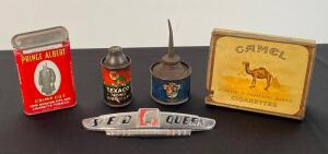 Maytag Oiler Can, Texaco, Camel & Other Vintage Tins