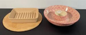 Pampered Chef Stone Bacon Dish, Pizza Stone, & Roseville Pottery