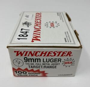 Winchester 9mm Luger 100 Rounds