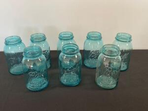 Lot of 7 blue Ball quart jars