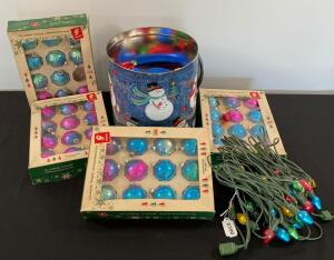 Vintage Christmas lights, tin and glas tree ornaments
