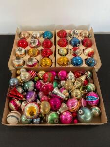 Lot of vintage glass and plastic Christmas bulbs