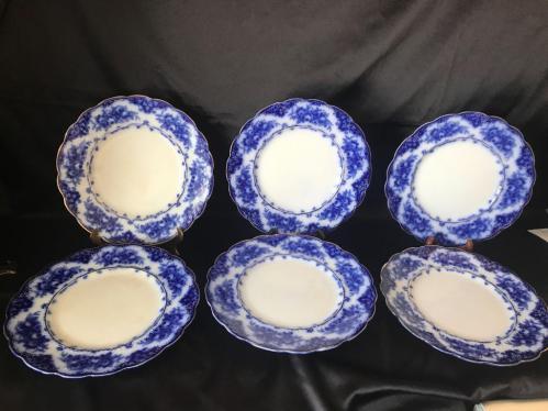 Rose Royal Lot Of 6 Flow Blue 10 Dinner Plates Current Price 35