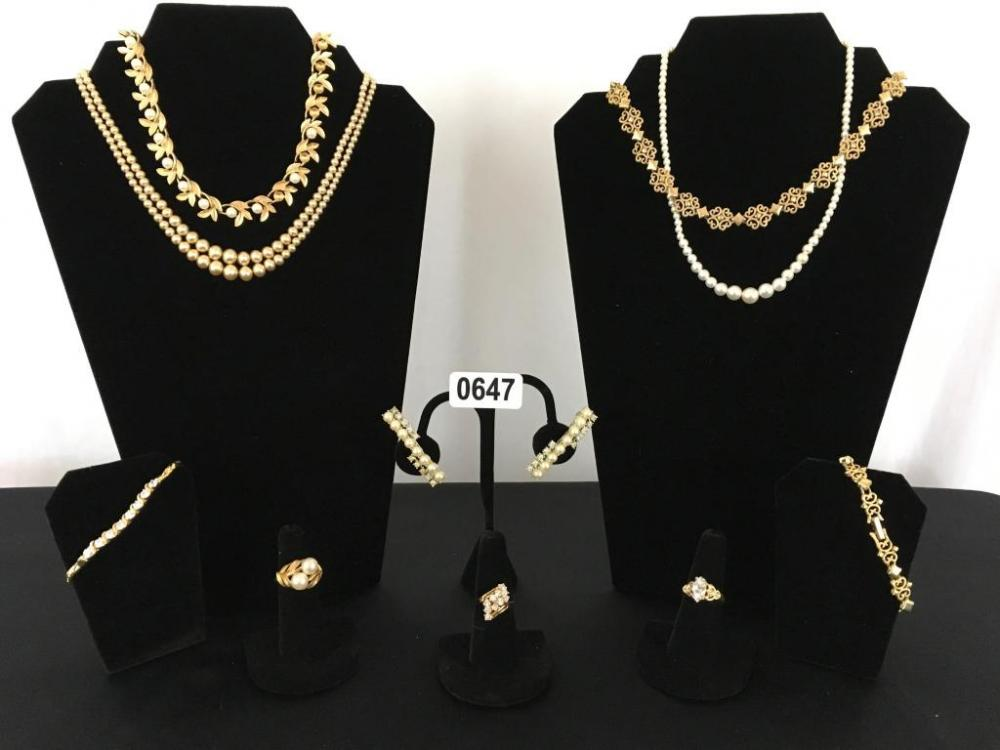 Lot 647 of 302: Faux Pearl, Diamond and Gold Jewelry